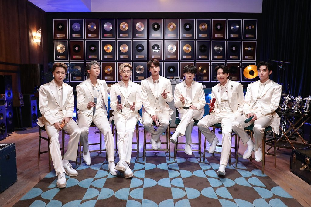 This photo, provided by Big Hit Entertainment on Feb. 24, 2021, shows BTS on a set for
