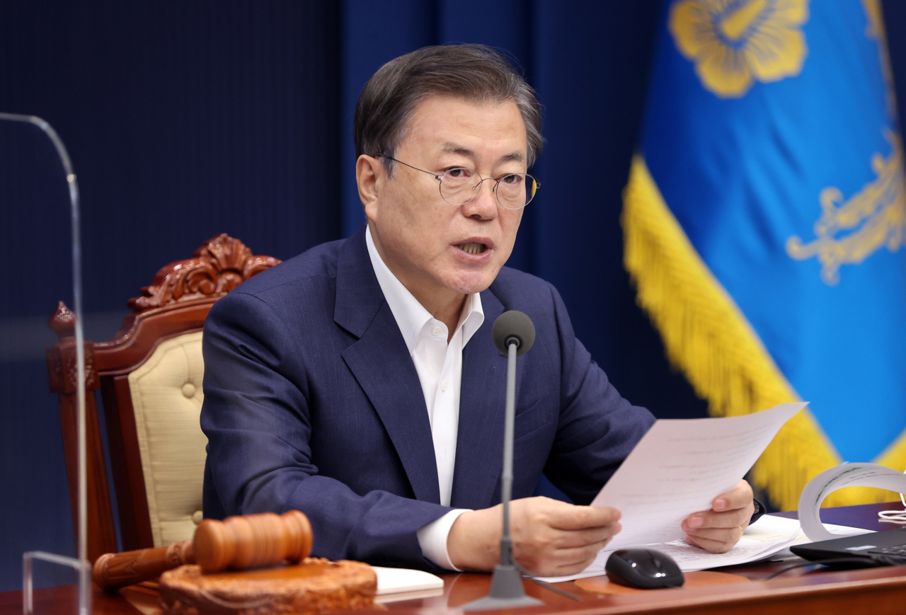 President Moon Jae-in speaks during a State Council Meeting at the Blue House on Tuesday. (Yonhap)