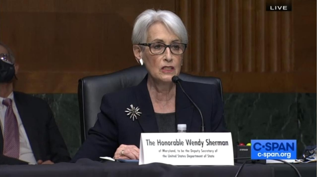 The captured image from the website of US news network C-Span shows Deputy Secretary of State nominee Wendy Sherman speaking in her confirmation hearing before the Senate Foreign Relations Committee in Washington on Wednesday. (C-Span)