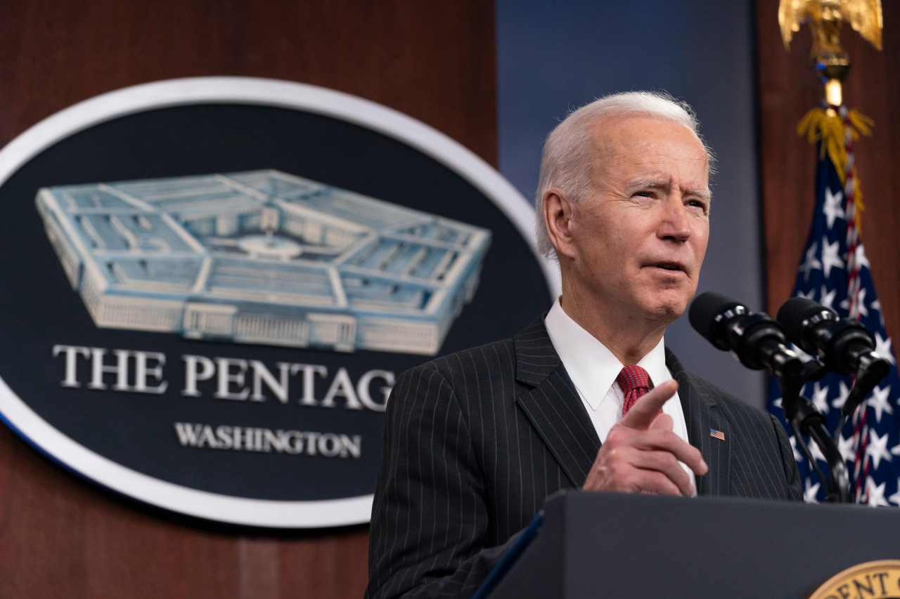 US President Joe Biden speaks at the Pentagon in Washington, DC. (AFP-Yonhap)