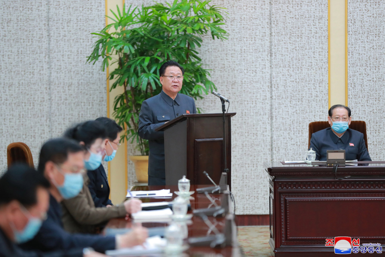 Choe Ryong-hae (C), head of the Supreme People's Assembly (SPA) Presidium, speaks during the 13th plenary meeting of the SPA Presidium at the Mansudae Assembly Hall in Pyongyang on Wednesday, in this photo released by the Korean Central News Agency. (Yonhap)