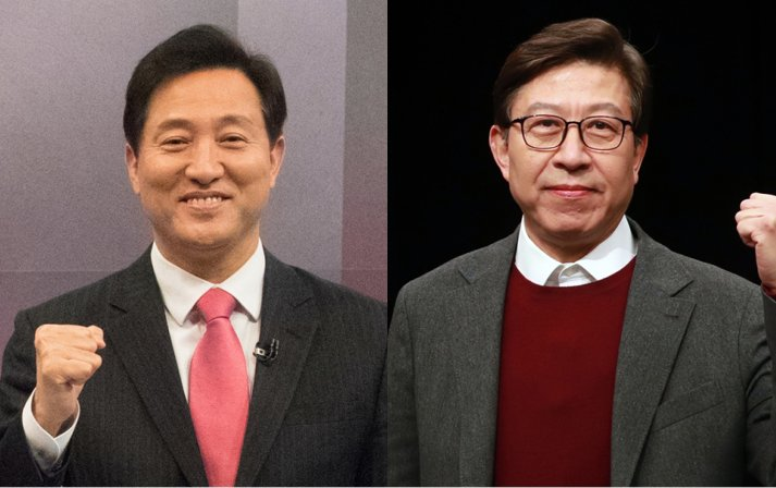 These photos show Oh Se-hoon (L) and Park Hyung-jun, who were selected on Thursday, as the main opposition People Power Party's candidates for the Seoul and Busan mayoral by-elections, respectively, set for April 7. (Yonhap)