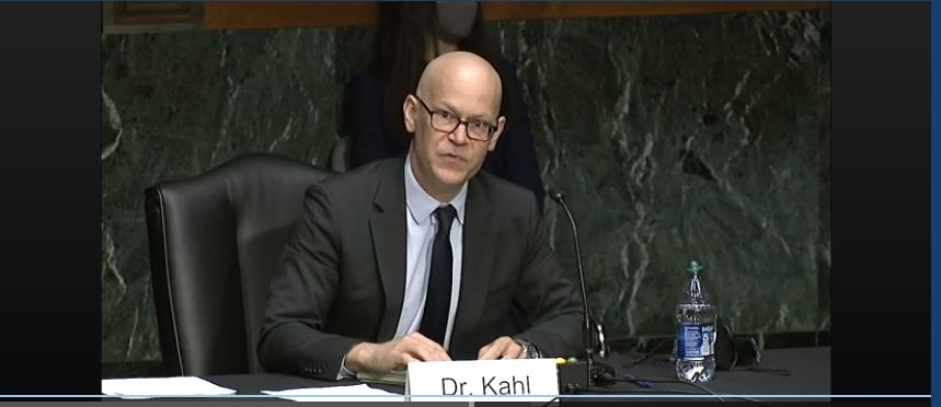 The captured image from the website of US Senate Armed Services Committee shows Colin Kahl, nominee for under secretary of defense for policy, speaking in his Senate confirmation hearing in Washington on Thursday. (US Senate Armed Services Committee)