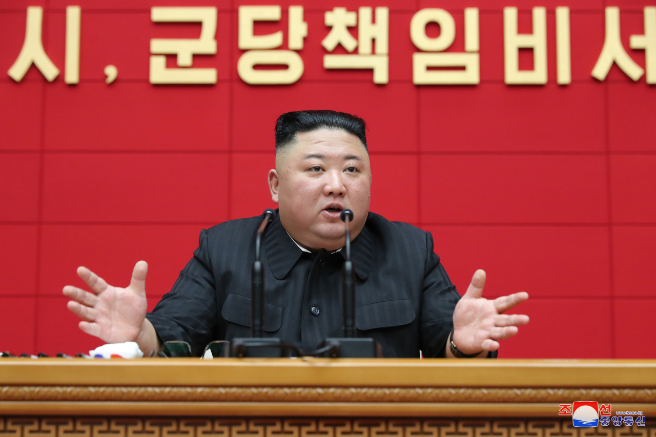 North Korean leader Kim Jong-un speaks during the first short training course for chief secretaries of the city and county party committees at the headquarters of the Central Committee of the Workers' Party of Korea in Pyongyang on Thursday, in this photo released by the North's official Korean Central News Agency. Kim stressed the importance of increasing production in the agricultural sector as a foremost economic task. (KCNA-Yonhap)