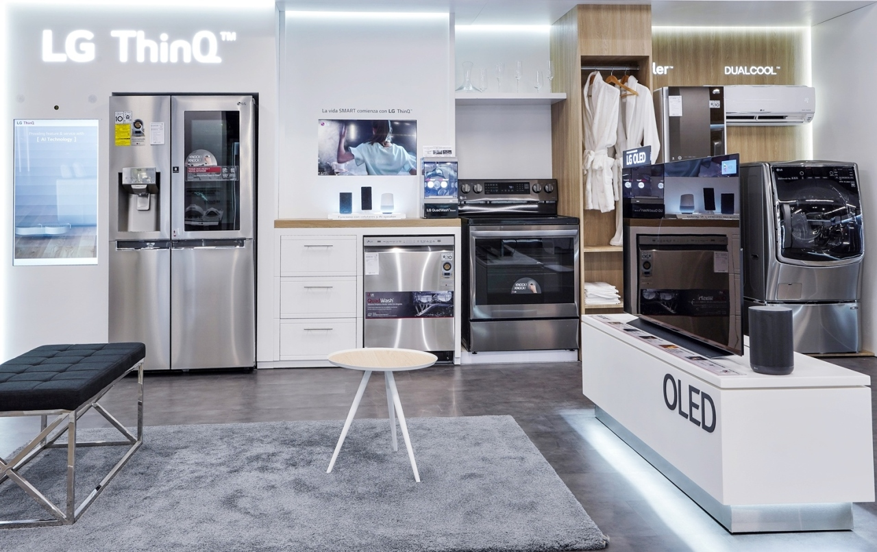 This photo provided by LG Electronics Inc. on Feb. 26, 2021, shows the company's home appliance products displayed at its premium store in Panama City, Panama. (LG Electronics Inc.)
