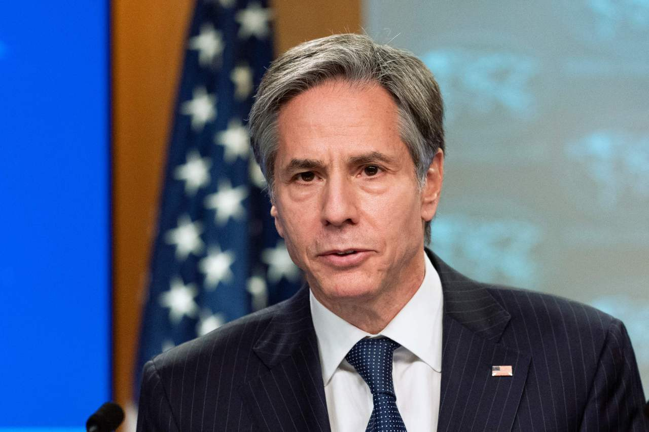 US Secretary of State Antony Blinken speaks during a press briefing at the State Department in Washington on Feb. 26, 2021 in this photo released by the Associated Press. (AP-Yonhap)