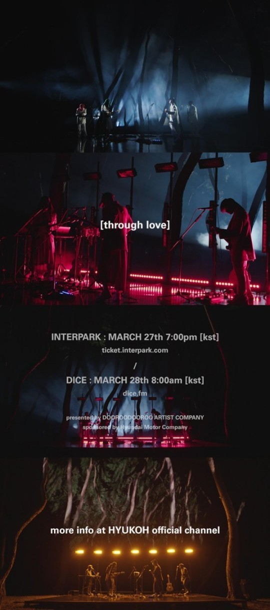 A trailer for indie rock quartet HYUKOH's online concert to be held from March 27-28, 2021 (DooRooDooRoo Artist Company)