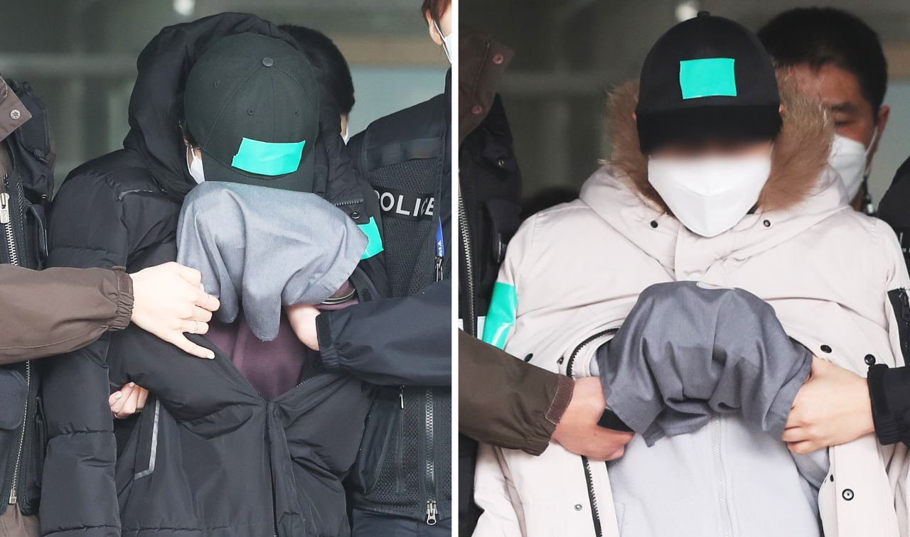 A couple appear for a court hearing on Feb. 10 over allegations of abusing their 10-year-old niece to death. (Yonhap)