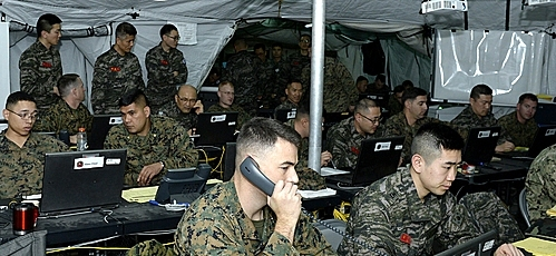 This file photo provided by the Marine Corps on March 19, 2015, shows South Korean and US service members conducting a combined command post exercise. (Marine Corps)