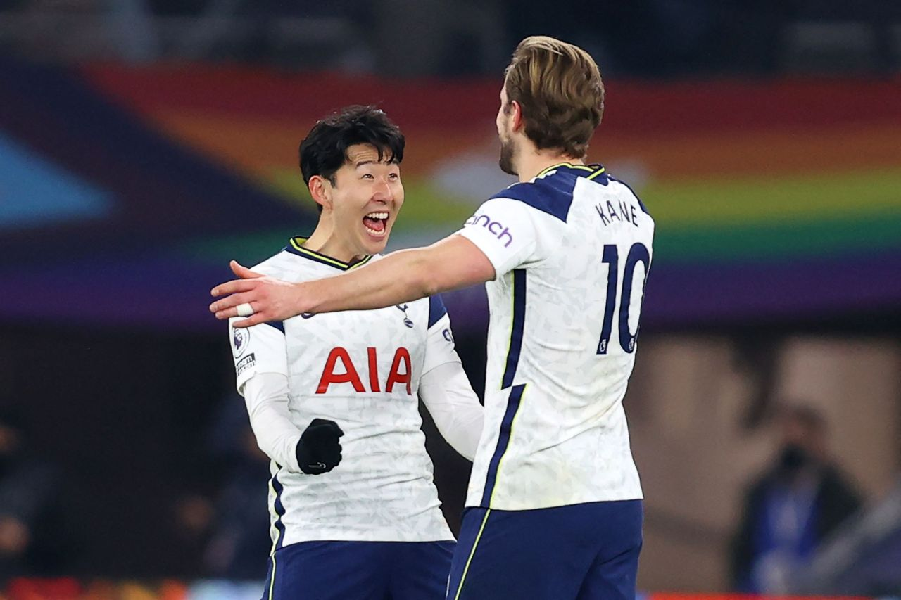 In this Reuters photo, Son Heung-min (L) and Harry Kane of Tottenham Hotspur celebrate Kane's goal during a Premier League match against Crystal Palace at Tottenham Hotspur Stadium in London on Sunday. (Yonhap)