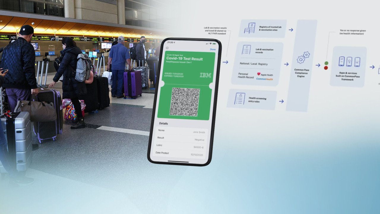 This composite photo captured from Yonhap News TV shows foreign tourists and a prototype of a digital vaccine passport.(Yonhap)