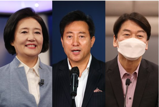Park Young-sun (L), Oh Se-hoon (C), Ahn Cheol-soo (R) (Yonhap)