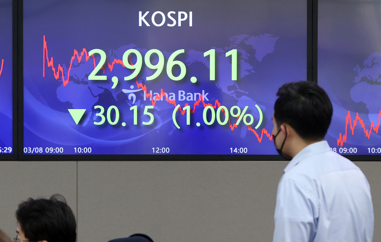Electronic signboards at the trading room of Hana Bank in Seoul show the benchmark Kospi closed at 2,996.11 on Monday, down 30.15 points or 1 percent from the previous session's close. (Yonhap)
