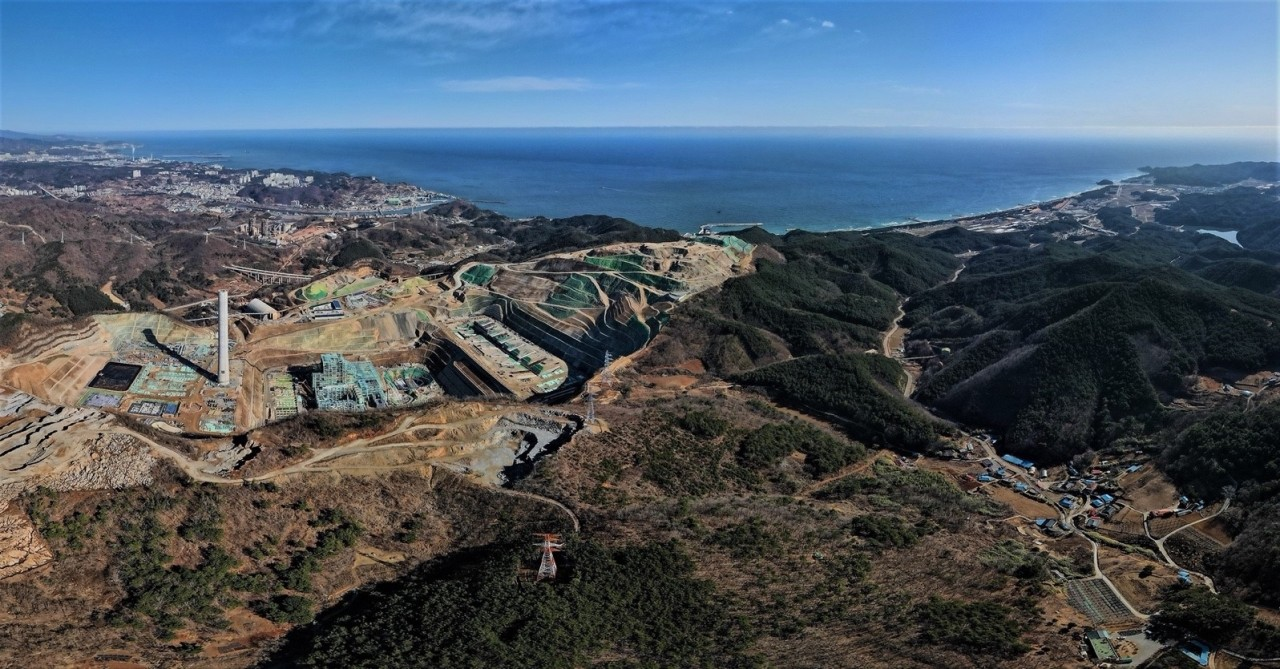 An aerial view of a construction site of Samcheok Blue Power Plant in Samcheok, Gangwon Province. (Solutions for Our Climate)