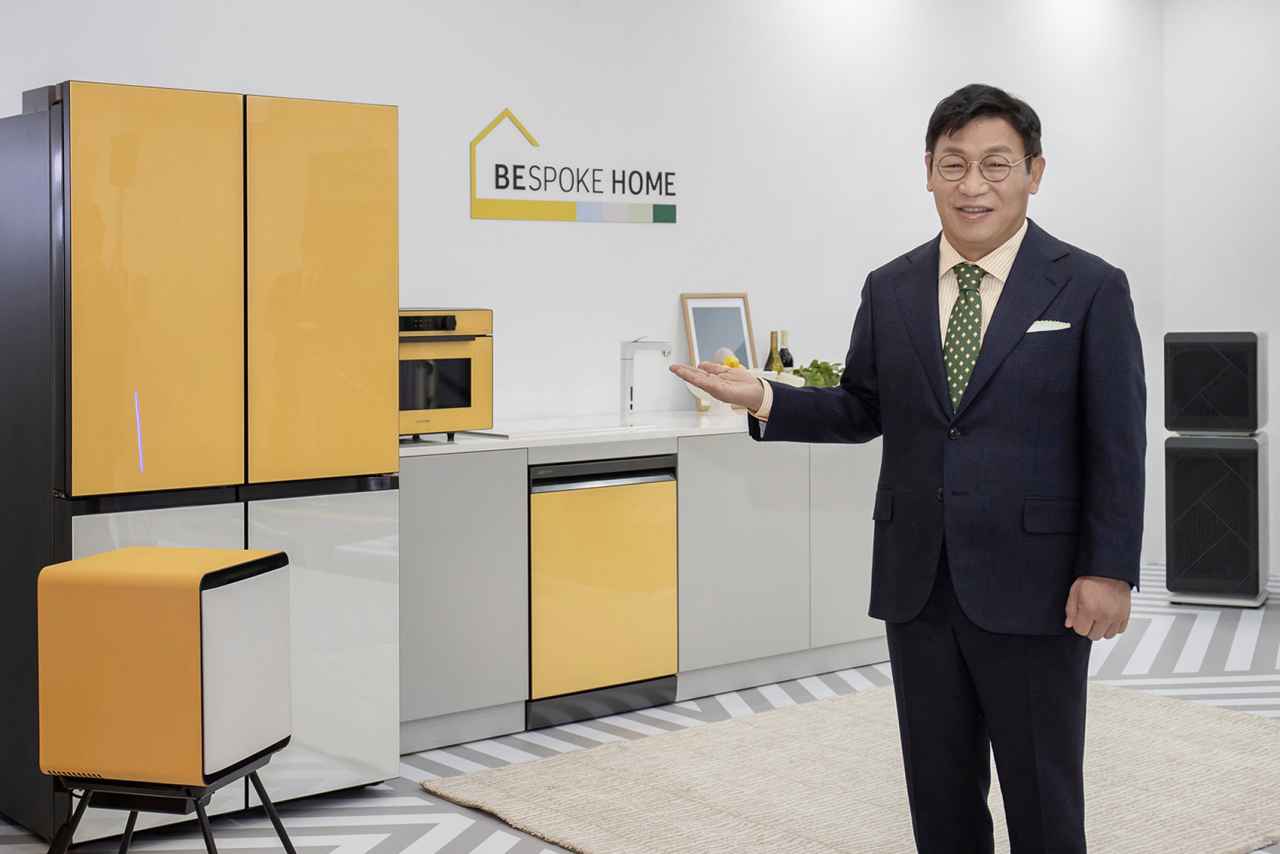 Lee Jae-seung, head of consumer electronics business at Samsung Electronics, presents Bespoke Home during an online presentation on Tuesday. (Samsung Electronics)