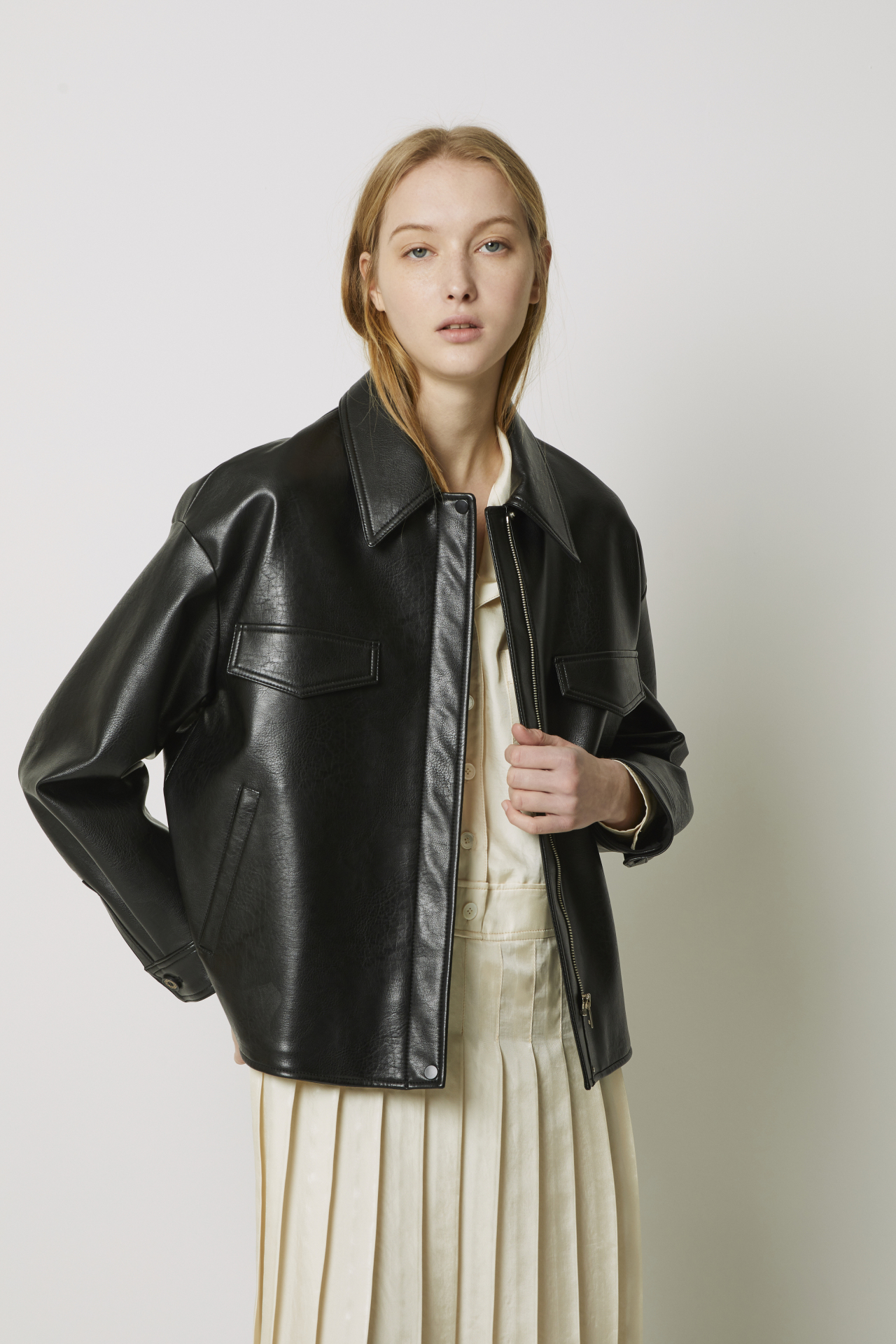A model wears vegan leather jackets from LF's eco-friendly fashion line under its brand A.T.Corner. (LF)