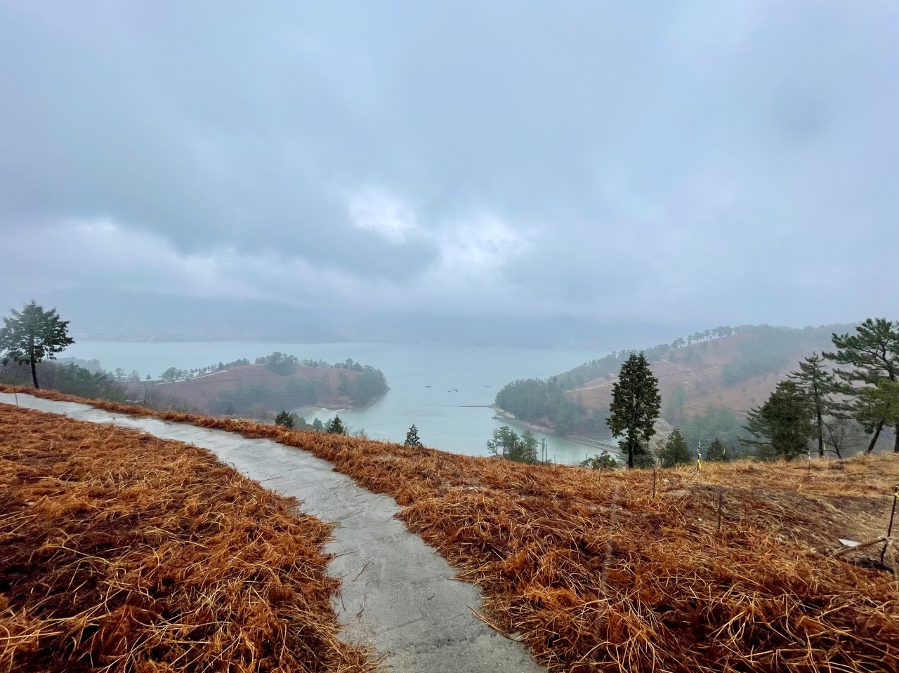 View from Baraegil Trail No. 4. The trail cuts across the bracken farms of Namhae, South Gyeongsang Province. (Photo by Im Eun-byel / The Korea Herald)