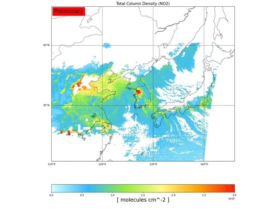 Nitrogen dioxide concentration levels across East Asia, based on data collected by Chollian-2B on Feb. 9, 2021, are shown in this image provided by the Ministry of Science and ICT on Sunday. (Ministry of Science and ICT)