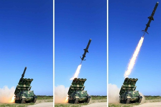 North Korea launches a surface-to-ship cruise missile on June 9, 2017. (Rodong Sinmun)
