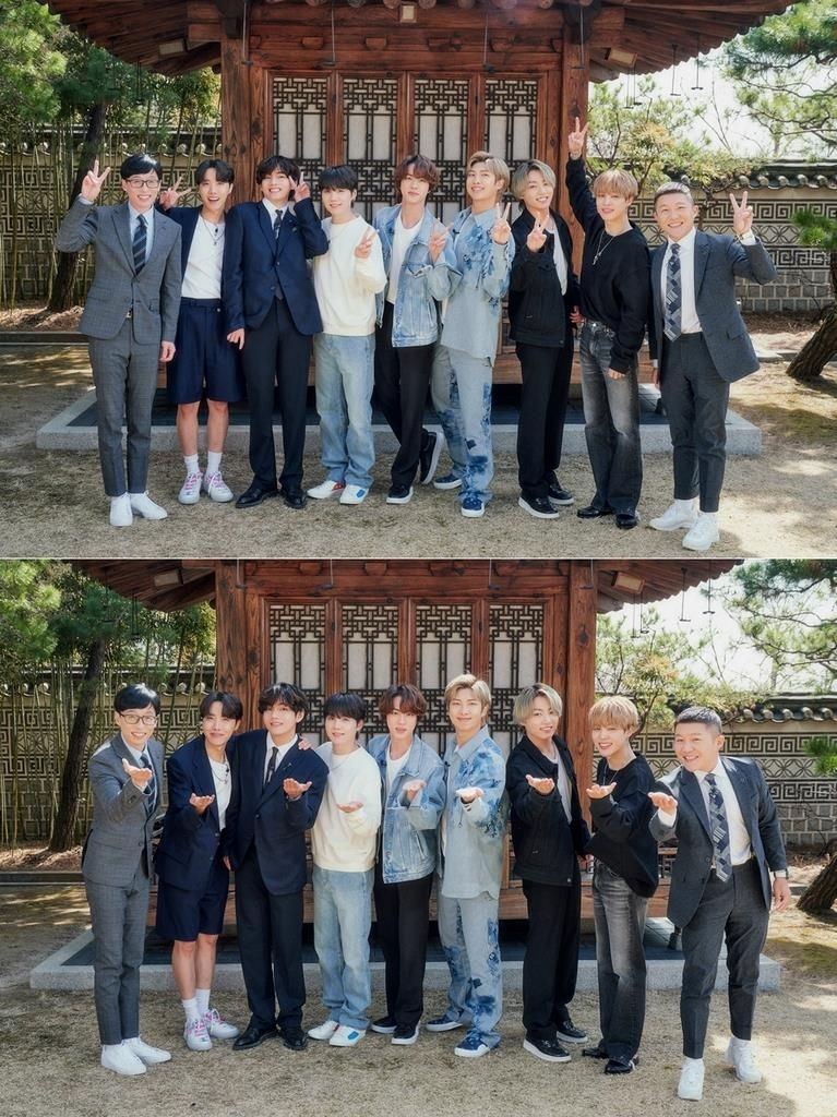This composite image, provided by CJ ENM, shows BTS posing with