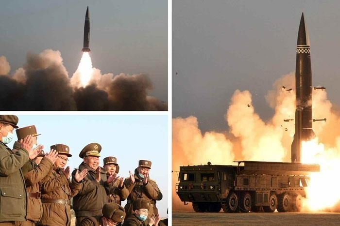 This image captured from the homepage of the Rodong Sinmun, an organ of the North Korean Workers' Party, on Friday, shows the North test-firing a