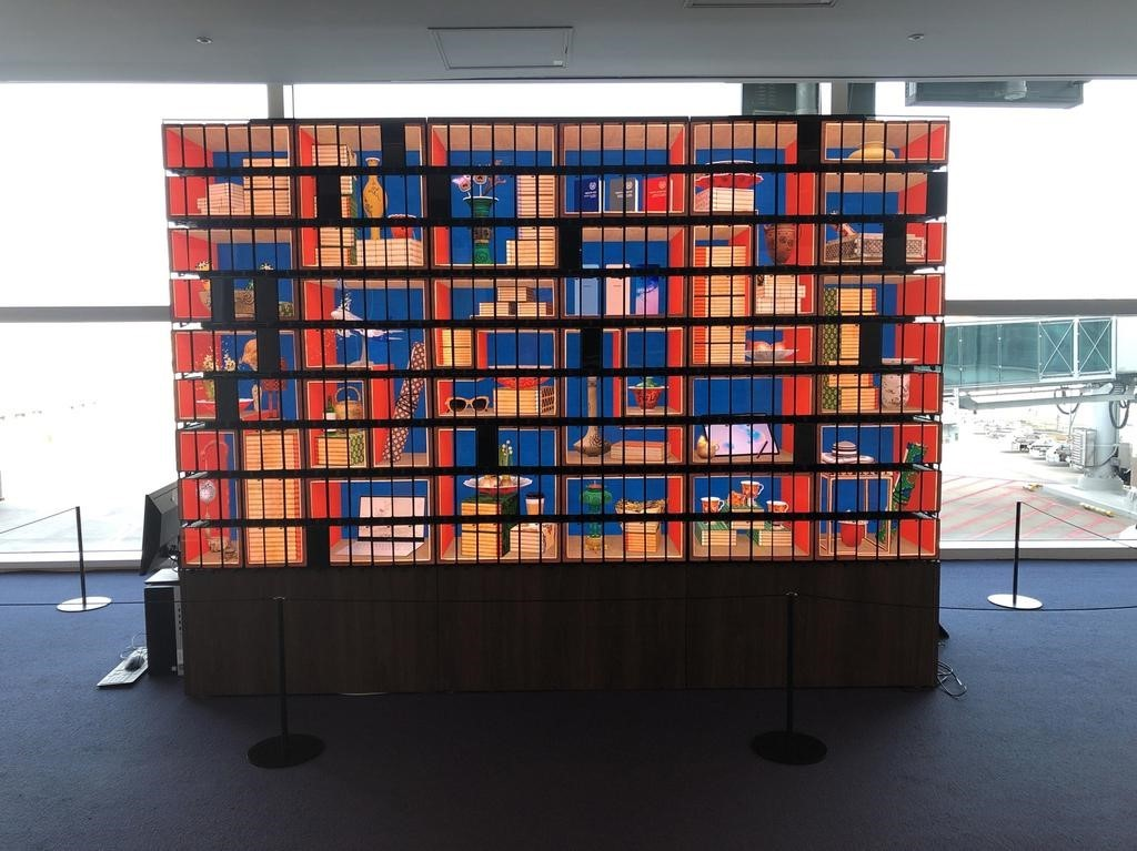 Kinetic artwork at Incheon Airport presents a modern interpretation of an 18th-century chaekgado, a traditional painting of a bookshelf. (CHA)