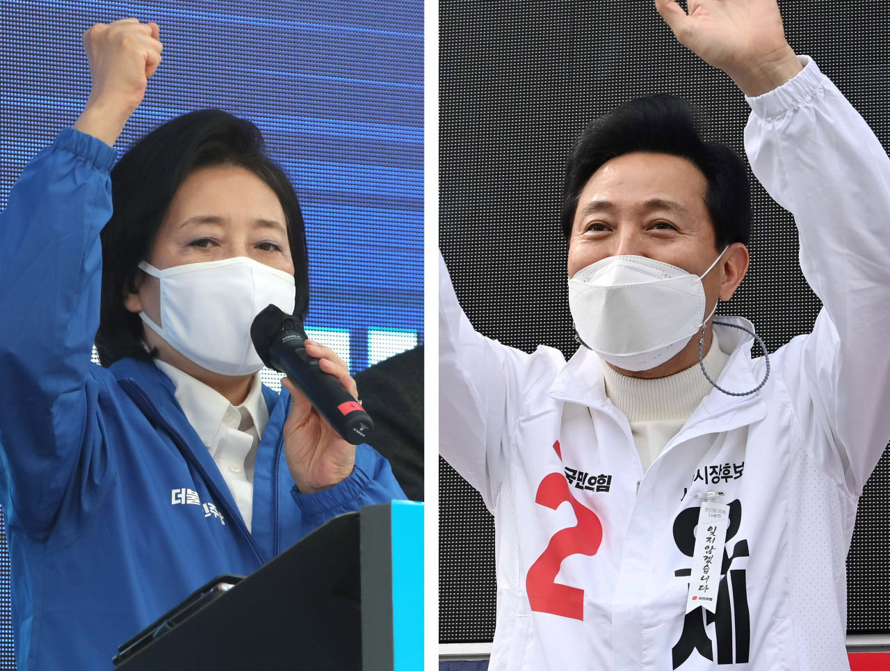 Park Young-sun (left) of the Democratic Party of Korea appeals for support in a campaign held in front of Hyundai Department Store in Sinchon, while Oh Se-hoon of the People Power Party campaigns in Yongsan on Friday. (Yonhap)