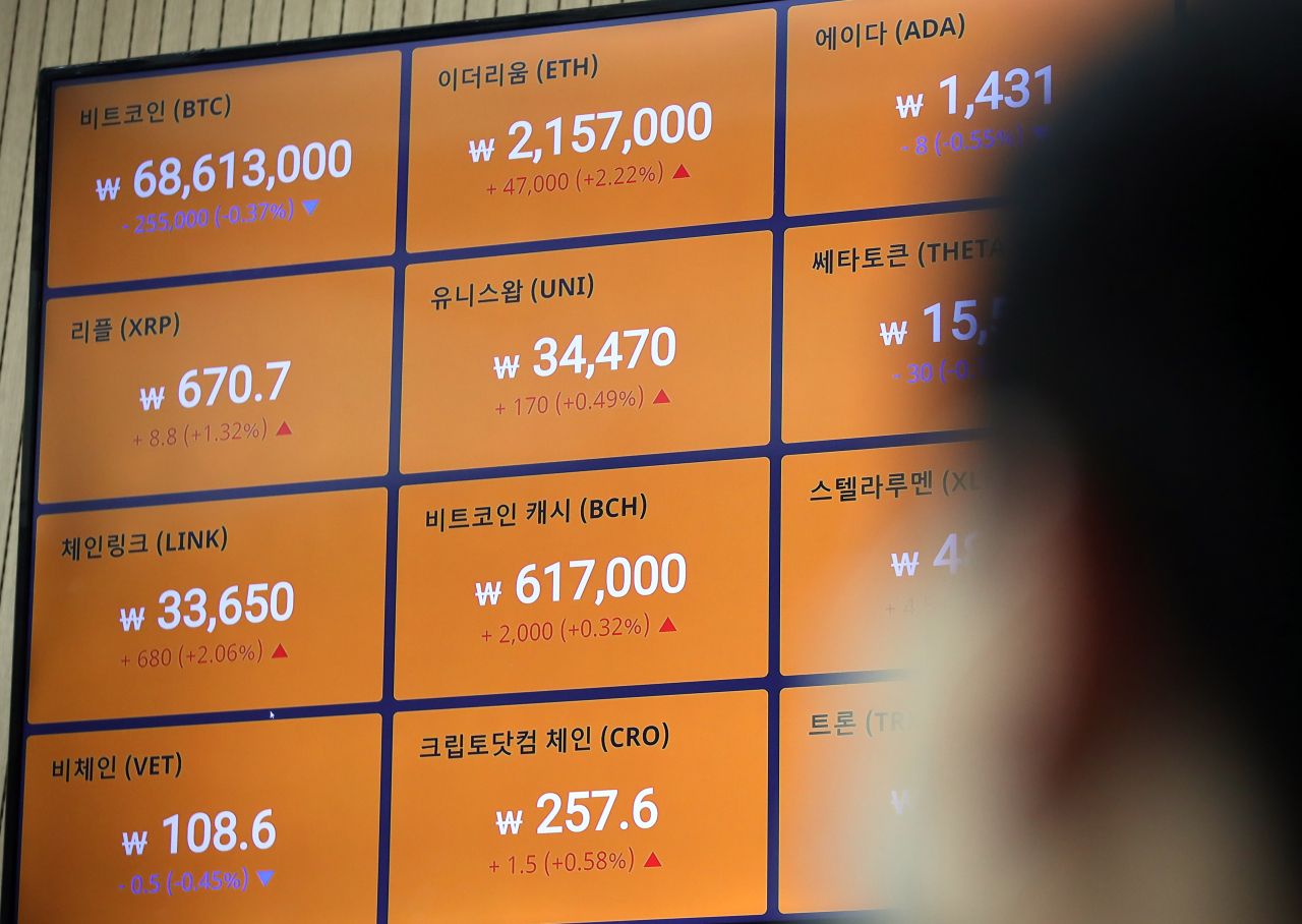 A digital board at Bithumb shows cryptocurrency prices. (Yonhap)