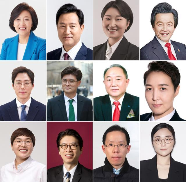 The candidates running in the April 7 Seoul mayoral by-election, from left, are (top row) Park Young-sun of the Democratic Party of Korea, Oh Se-hoon of the People Power Party, Shin Ji-hye of the Basic Income Party, Huh Kyung-young of the National Revolutionary Party, (middle row) Oh Tae-yang of the Mirae Party, Lee Su-bong of the Minsaeng Party, Bae Young-kyu of the New Liberal Democratic Union, Kim Jin-ah of the Women's Party, (bottom row) Song Myung-sook of the Jinbo Party, and independent candidates Chung Dong-hee, Lee Do-yeop and Shin Ji-ye. (Yonhap)