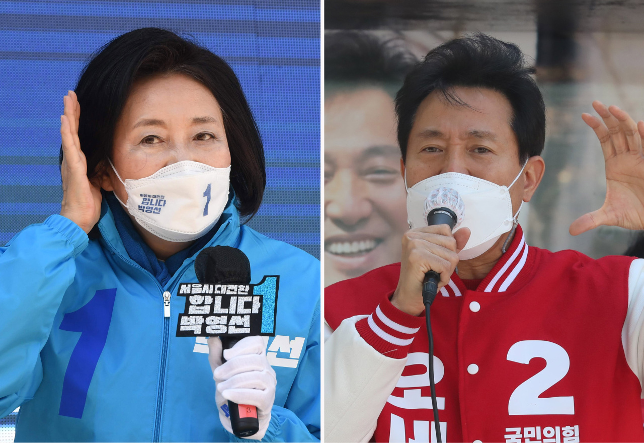 These photos provided by the National Assembly press corps show the Democratic Party's Seoul mayoral candidate Park Young-sun (L) and People Power Party candidate Oh Se-hoon during their election campaigns on Tuesday. (Yonhap)