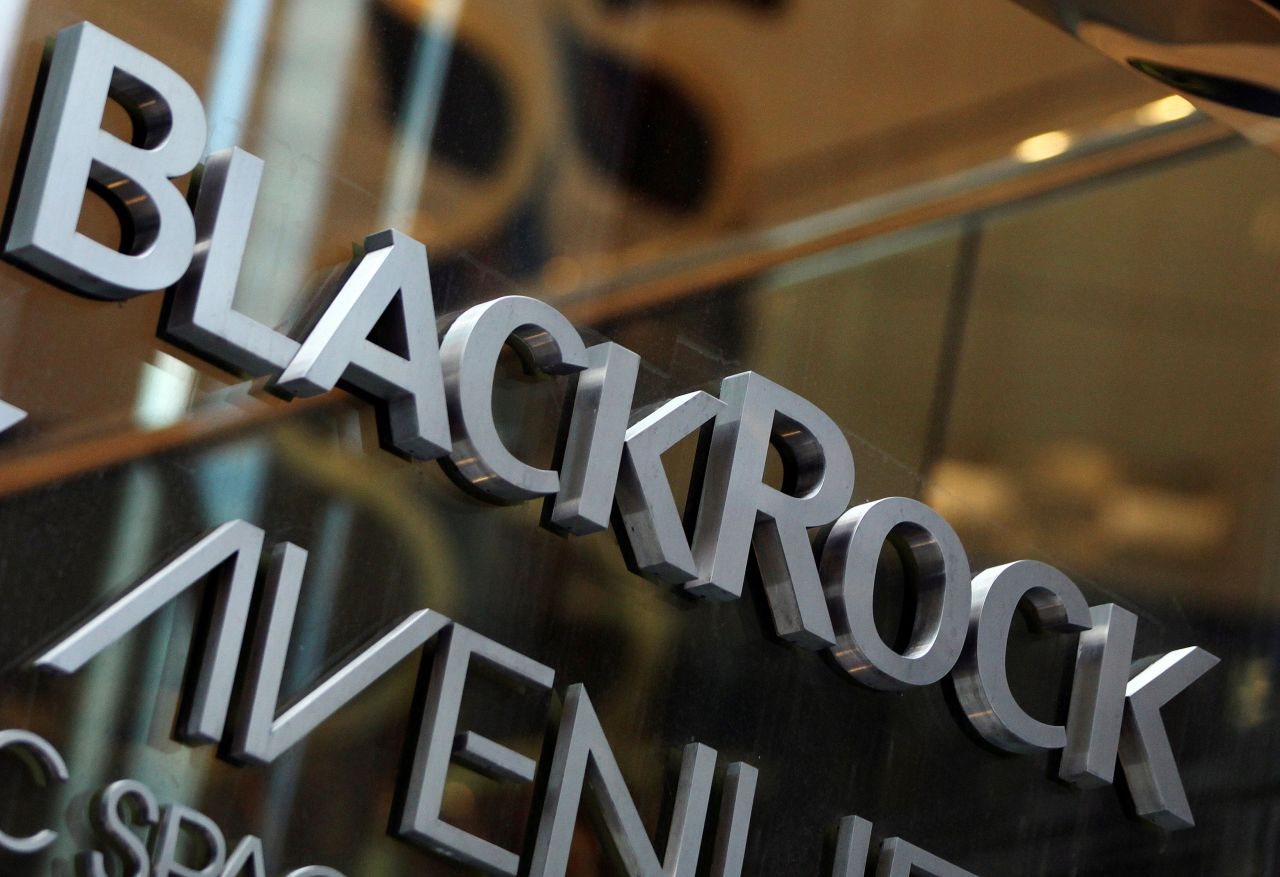 The BlackRock logo is seen outside of its offices in New York (Reuters-Yonhap)