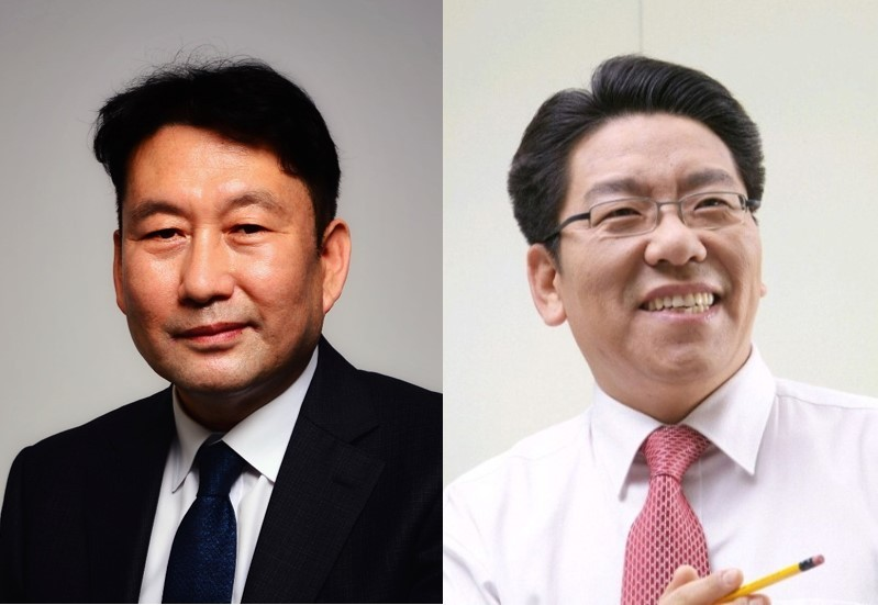 New Herald Corp. CEO and publisher Jeon Chang-hyeop (left) and new Korea Herald CEO Choi Jin-young.