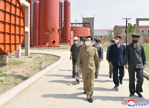 North Korean Premier Kim Jae-ryong (L) makes an on-site inspection of the construction site for the C1 chemical industry, in this photo released by the Korean Central News Agency on June 15, 2020. (Korean Central News Agency)