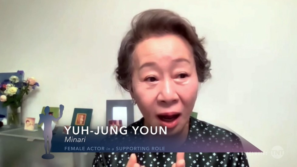 """Youn Yuh-jung gives her acceptance speech after winning the Screen Actors Guild Award for outstanding performance by a female actor in a supporting role for """"Minari"""" on Monday. (YouTube)"""