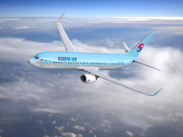 A promotional image of an aircraft of Korean Air Lines (Korean Air Lines)