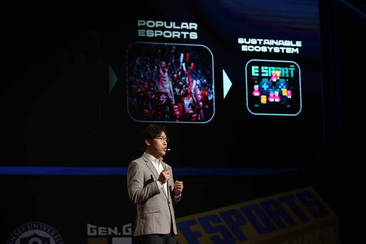 """CEO of LCK Corp. and head of esports and Riot Games Korea Oh Sang-hun appears at """"The Game Changer"""" conference last week. (Gen.G Esports)"""