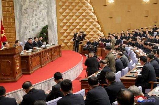 The second plenary meeting of the central committee of the Workers' Party in Pyongyang takes place on Feb. 9, 2021, in this photo released by the Korean Central News Agency. Presided over by North Korean leader Kim Jong-un, the meeting discussed details to put into practice a new five-year economic development plan set forth at the party's eighth congress the previous month, and presented this year's goals. (For Use Only in the Republic of Korea. (KCNA-Yonhap)