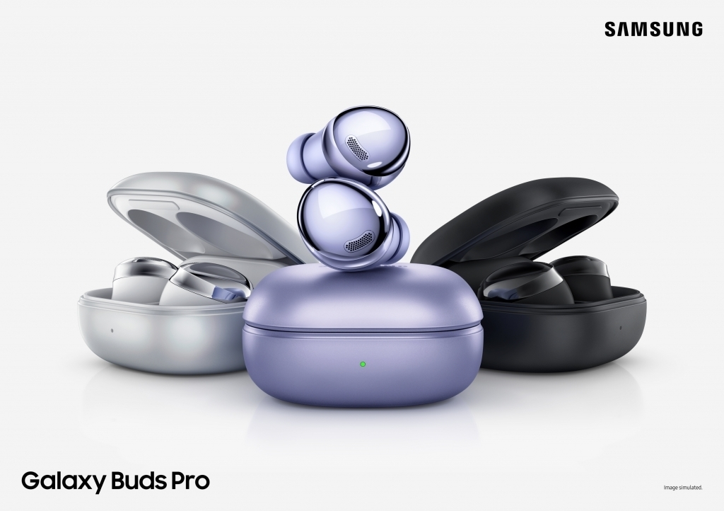 This image provided by Samsung Electronics Co. on Jan. 15, 2021, shows the Galaxy Buds Pro wireless earbuds. (Samsung Electronics Co.)