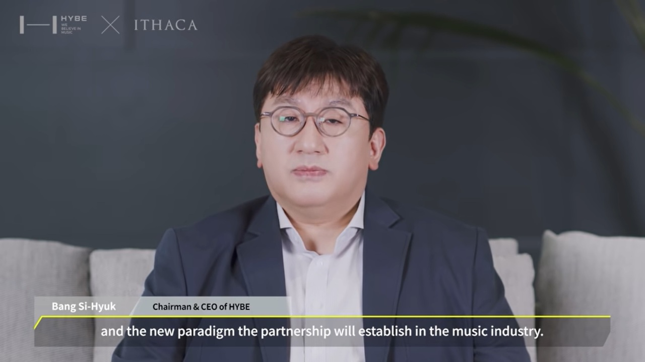 Bang Si-hyuk, chairman and CEO of Hybe, speaking in a YouTube video uploaded Monday. (Hybe Labels)