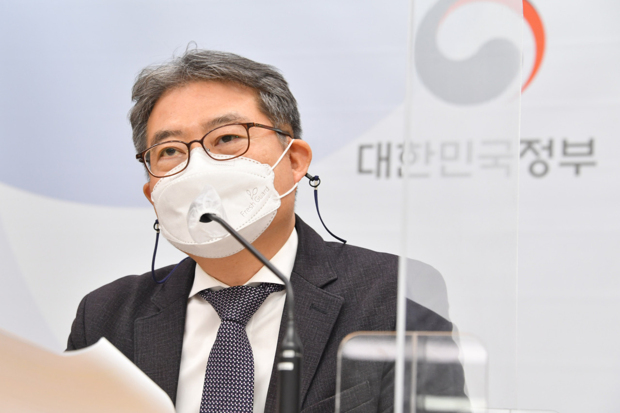 Kang Seung-joon, head of the Fiscal Management Bureau of the Finance Ministry, speaks during a press briefing held at the government complex in Sejong, Tuesday. (Yonhap)