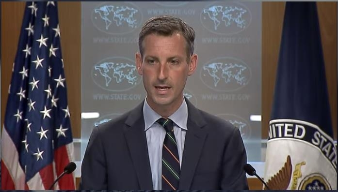 The captured image from the website of the US Department of State shows department spokesman Ned Price answering questions at a daily press briefing held at the State Department in Washington on Tuesday. (Yonhap)