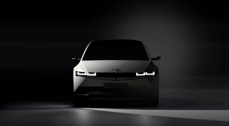 This photo, provided by Hyundai Motor Co. on shows a teaser of the carmaker's Ioniq 5, its first all-electric model. (Hyundai Motor Group)