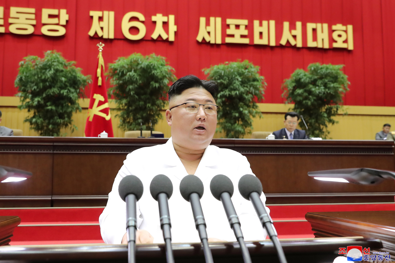 North Korean leader Kim Jong-un speaks during the 6th Conference of Cell Secretaries of the Workers` Party of Korea in Pyongyang on Tuesday. (KCNA-Yonhap)