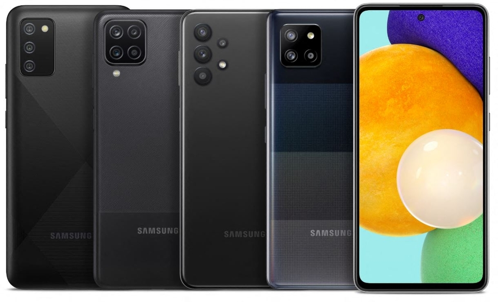This photo provided by Samsung Electronics Co. on Thursday, shows the 2021 edition of Galaxy A series smartphones to be sold in the United States.(Samsung Electronics Co.)