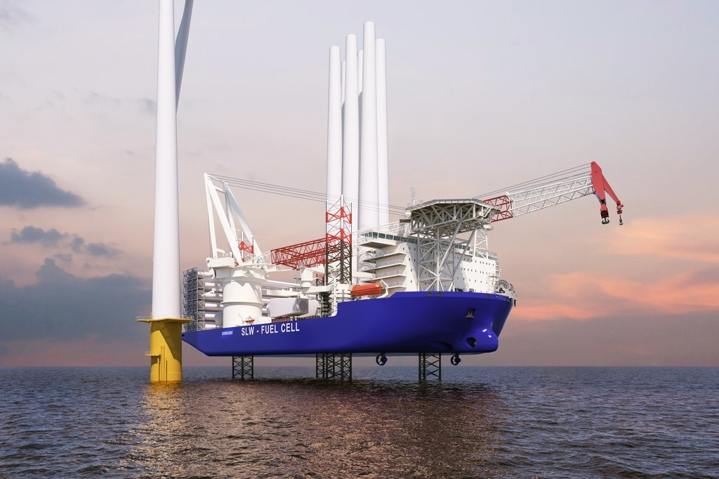 This photo provided by Samsung Heavy Industries Co. on Thursday, shows a wind turbine installation vessel (WTIV) to be built by the shipbuilder. (Samsung Heavy Industries Co.)
