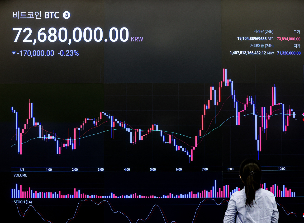 A woman looks at a digital board that shows the price of a bitcoin on Thursday at the Upbit office in Seoul. (Yonhap)