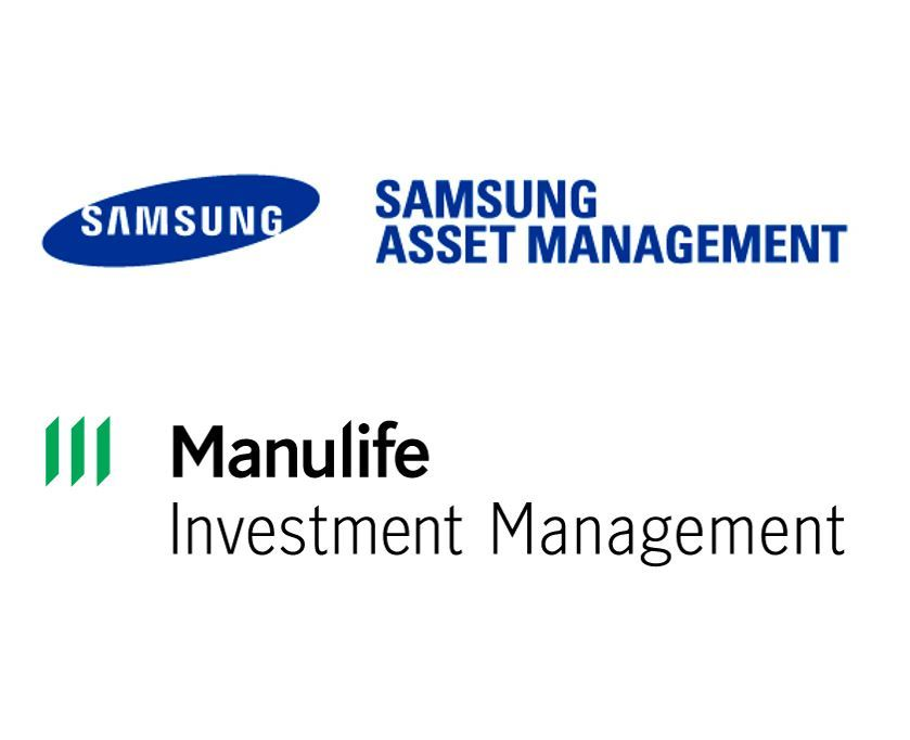 Logos of Samsung Asset Management (top) and Manulife Investment Management