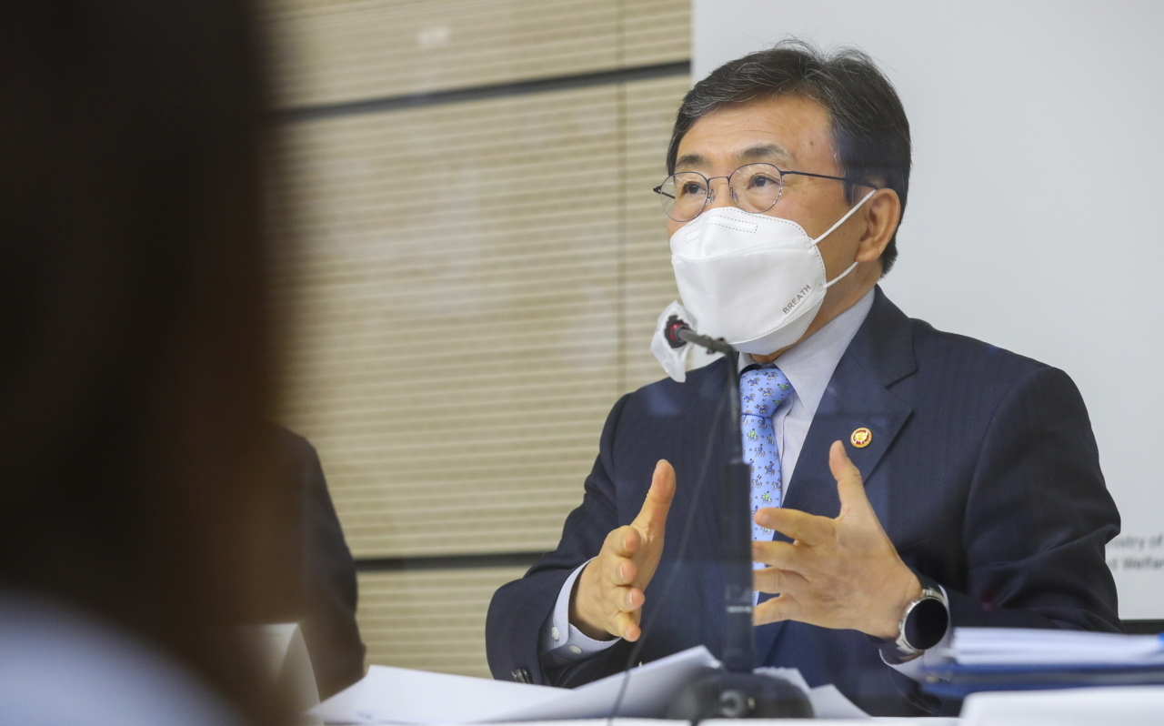 South Korean Minister of Health and Welfare Kwon Deok-cheol speaks during a press conference Thursday morning. (Ministry of Health and Welfare)