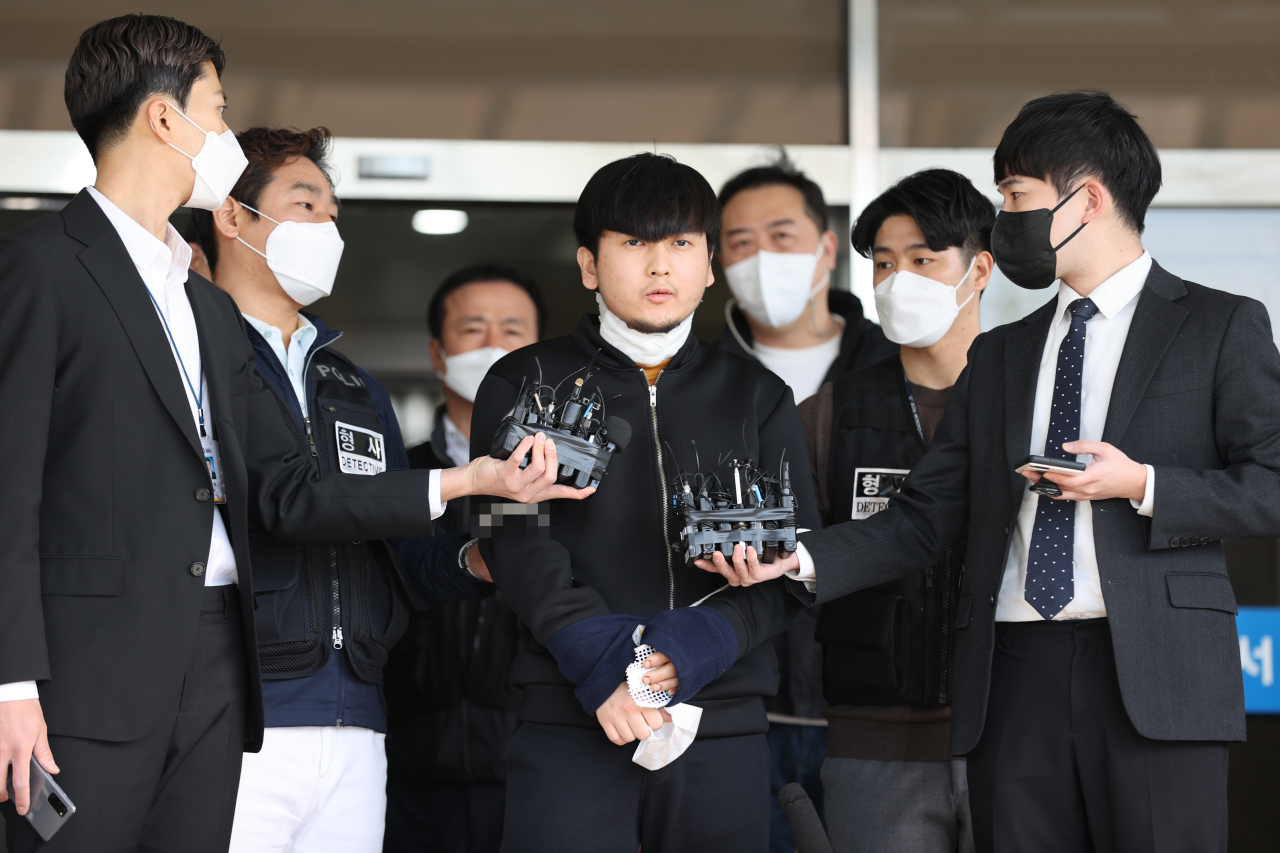 Suspect Kim Tae-hyeon speaks before being sent to the Seoul Northern District Prosecutors' Office on Friday. (Yonhap)