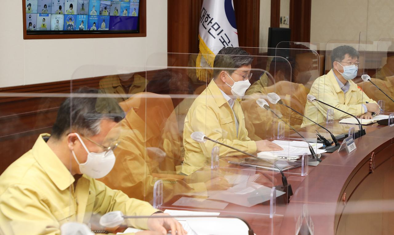 During the Korea Disease Control and Prevention Agency's meeting on Saturday morning. (Yonhap)